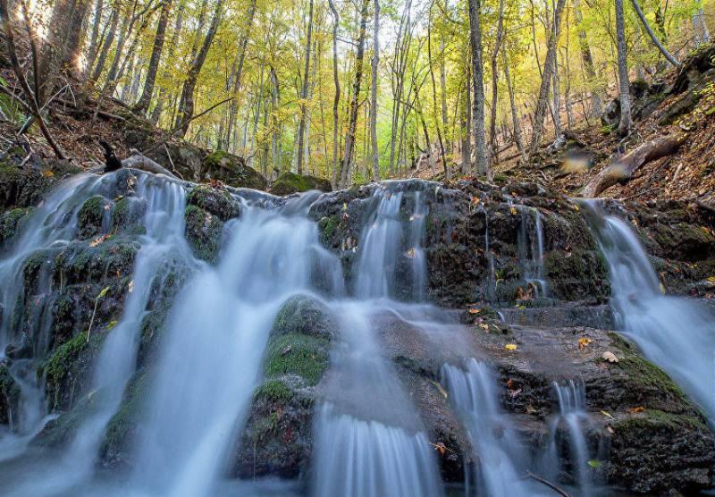 утром водопад в лесу